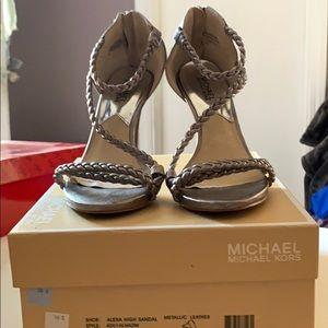 Michael Kors Alexa High Sandal Metallic Leather